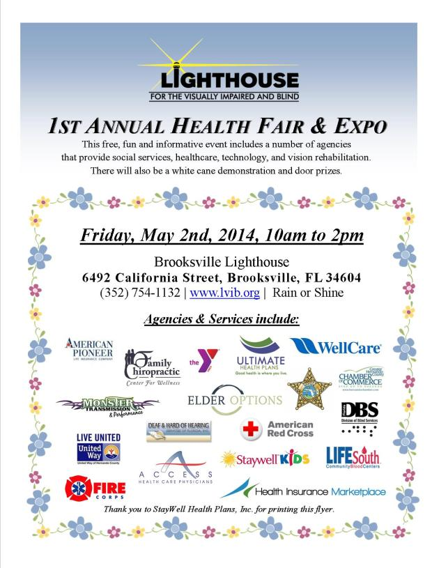 1st Annual Health Fair & Expo event flyer with the event description and logos of some of the agencies who will participate on May 2, 2014.