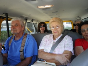 Clients and a Lighthouse instructor sitting in a Lighthouse van.