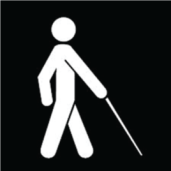 White Cane symbol - person walking with a white cane